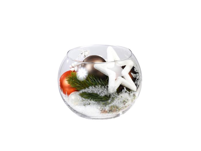 glas gevuld met kerstdecoratie