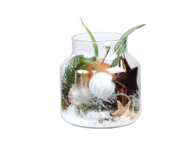 Glas met kerstdecoratie huren bij Ten Brinke Interieurbeplanting