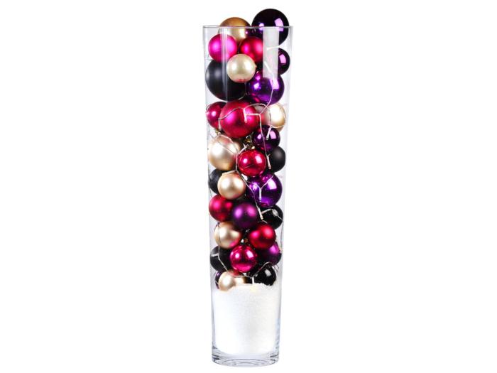 Huren classic kerstballen in glazen vaas bij Ten Brinke Interieurbeplanting