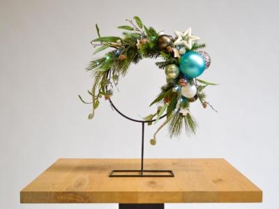 Kerstdecoratie frame op voet rond